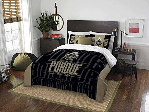 2pc NCAA Purdue Boilermakers Full/Queen Comforter Set, Polyester, College Football Themed, Purdue Merchandise, Sports Patterned Bedding, Black, Team Spirit, Team Logo by DOS