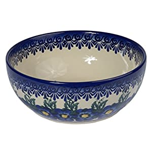 Traditional Polish Pottery, Handcrafted Ceramic Salad Bowl (900ml), Boleslawiec Style Pattern, d.18cm, M.703.Pansy