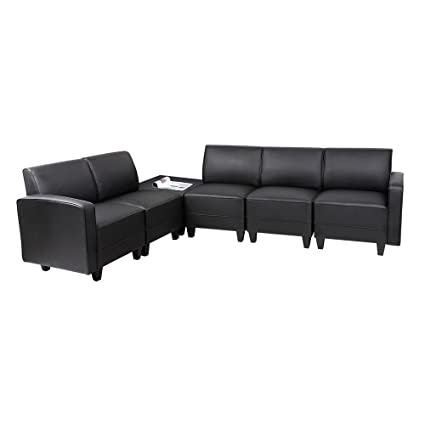 Amazon.com : Tyler Five Piece L-Sofa in Faux Leather with ...