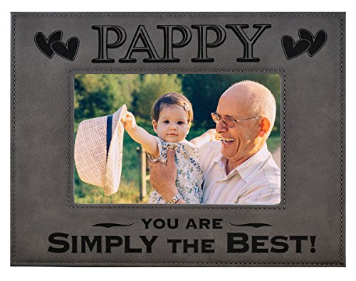 (PAPPY GIFT ~ PAPPY You Are SIMPLY THE BEST! Engraved Leatherette Picture Frame Fathers Day Gift Grandfather Dad Birthday Pops Christmas Gift Daughter Son Grandchild Best PAPPY Ever (5x7, Gray))