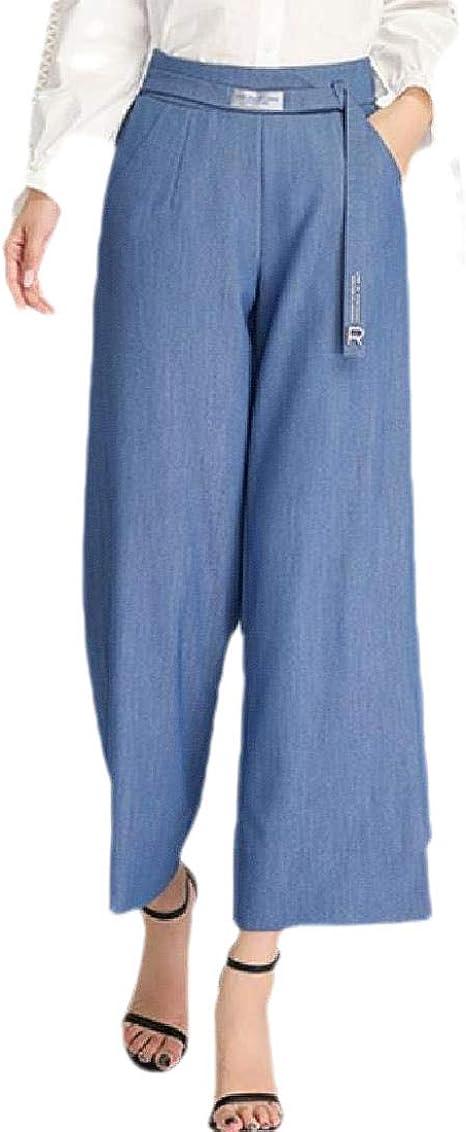 Tootess Women Solid Pocket Casual Weekend Straight High Waist Wide Leg Pants