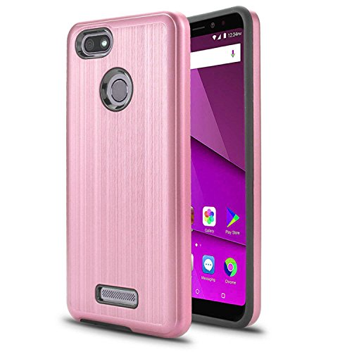 BLU Vivo XL3 5.5 Case, SOGA Shockproof Absorption Anti-Scratch Brush Texture Slim Hybrid Armor Protector Phone Cover Compatible for BLU Vivo XL3 V0250WW 5.5 Inch - Rose Gold