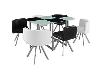 Manger Blanc Chaises Verre6 Corner Noir Xl Et Table À SUVjGLpqzM
