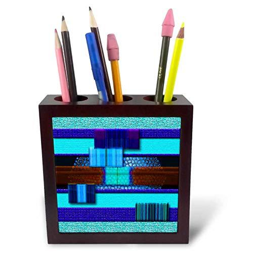 3dRose Jos Fauxtographee- Modern Blocks in Blue and Brown - Blue and Brown Blocks Crackled with a Modern Look - 5 inch Tile Pen Holder (ph_301790_1)