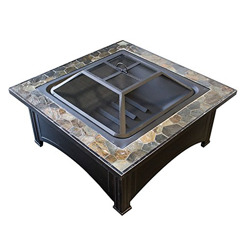 Ben and Jonah Wood Burning Fire Pit with Square Slate Table