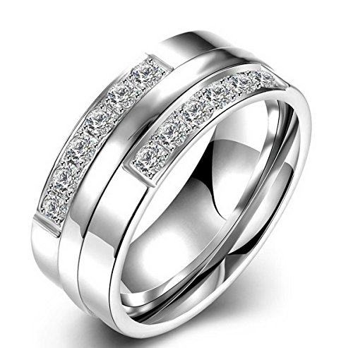 PSRINGS Clear Crystal Stainless Steel Engaget Rings Bridal white Plated Couple Ring 10.0