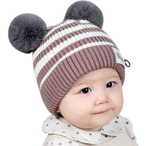 Oyfel Baby Infant Beanie Hat Children Toddlers Kids Stripe Ribbed Winter Warm Knitted Hats Pom Cap Earflap Ear Warmer Hat