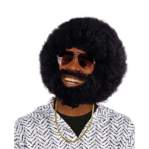 Bristol Novelty BW749 Afro Wig and Facial Hair, One ()