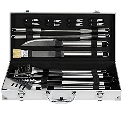 Best Choice Products 19pc Stainless Steel BBQ Grill Tool Set With Aluminum Storage Case