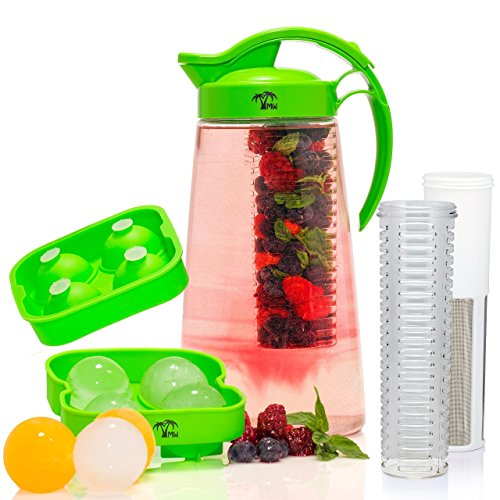 Fruit-Tea-Infusion-Water-Pitcher-Free-Ice-Ball-Maker-Free-Infused-Water-Recipe-eBook-Includes-Shatterproof-Jug-Fruit-Infuser-and-Tea-Infuser--Great-for-weight-loss-The-PERFECT-Set