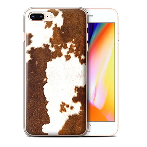 Stuff4® Gel TPU Phone Case/Cover for Apple iPhone 8 Plus/Cow/Brown Design/Animal Fur Effect/Pattern Collection