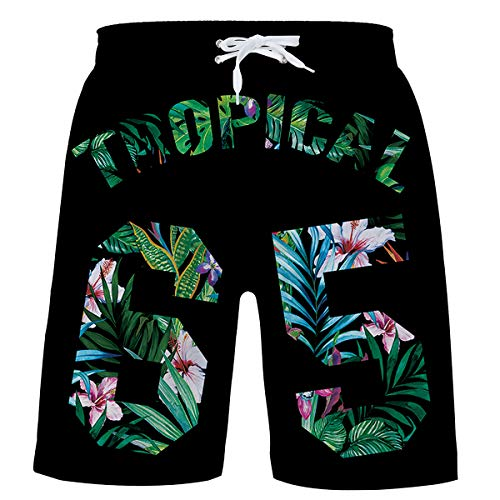 Big Boy Swim Trunks Black Quick Dry Swimwear Digital 3D Print Bathing Suits Hawaiian Floral Swimsuit Tropical Surf Shorts Beach Shorts with Mesh Lining 12-14 Years Old]()