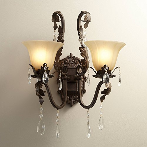 """Iron Leaf 15 1/2"""" Wide Bronze and Crystal Wall Sconce - Regency Hill"""