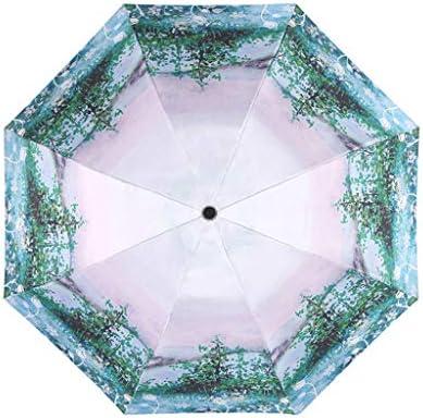 SUP-MANg Kompakter Taschenschirm Wind-, Regen- und UV-Schutz Sonnenschirm mit tragbarem AußenschirmSchwarzleimbeschichteter Regenschirm (Color : B)