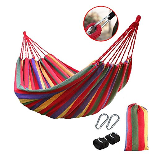 Portable Cotton Rope Outdoor Swing Fabric Camping Hanging Hammock Canvas Bed Strong Hammock + Huge Metal Hooks + Strap + Carry Bag (78.74