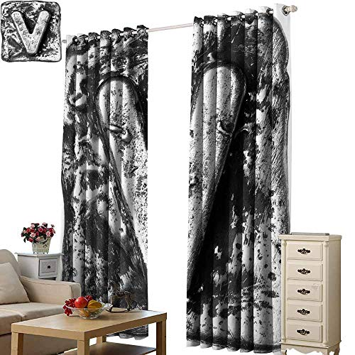 Beihai1Sun Cute Blackout Curtains Letter V Capital V Old Fashioned Alphabet Symbolic Middle Name in Medieval Fashion Typography Grey Modern City Curtains with Luxury W108 x H84 (Best Middle Names For Margaret)