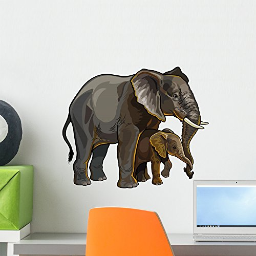 Wallmonkeys African Elephant with Baby Wall Decal Peel and Stick Graphic (18 in W x 15 in H) WM249579