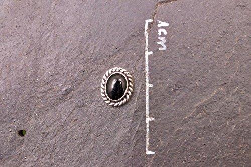 Boucles d'oreilles plaqué argent avec Onyx 10 x 12 mm