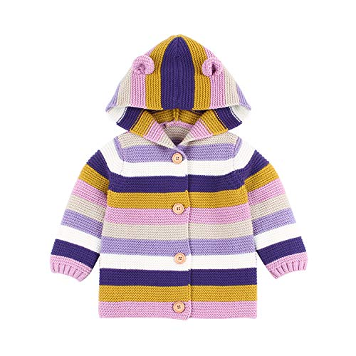 - Baby Girls Sweater Cardigan Colors Stripe Knit Jacket Cute Ear Boy Hooded Coats(Rose,18-24M)