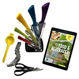 Colorful Knife Set Includes: Utility Knife, Chef Knife, Paring Knife, Carving Knife, Bread Knife. Plus: Knife Holder, Kitchen Shears, Lemon Squeezer, Watermelon Slicer. Free Recipe eBook - 9Pcs