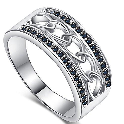 Narica Women's Elegant Round Cut Black Spinel CZ Engagement Ring Band ()
