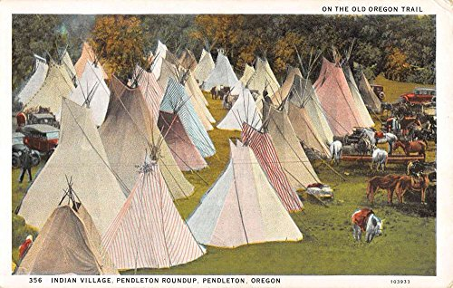 Teepee Postcard (Pendleton Oregon Roundup Indian Village Teepees Antique Postcard K87364)