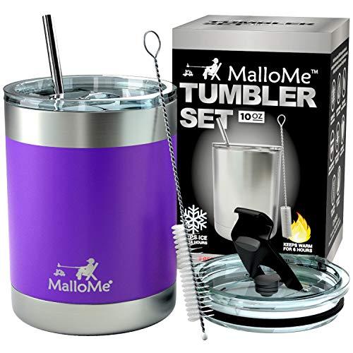 MalloMe Stainless Steel Vacuum Insulated 5-Piece Tumbler Set, Deep Purple 10 oz