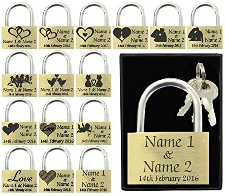 Anniversary Valentines Present 3 Hearts Wedding Favour 40mm Love Lock Personalised Engraved Padlock