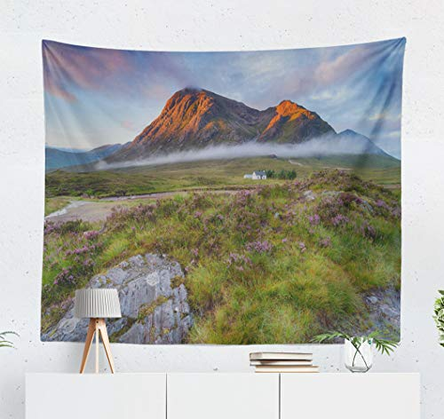 Kutita Tapestry Wall Hanging Sunrise Mountain Tops Scotland Landscape Scottish Wall Tapestry Home Decorations for Bedroom Living Room Dorm Decor in 60