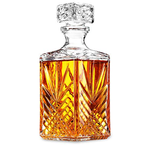 - Glass Whiskey Decanter - Italian Crafted Elegant liquor Decanter with Airtight Geometric Stopper, Bar Decanter for Wine, Bourbon, Brandy, Liquor, Juice, Vodka, Tequila, ETC. | 33.75 oz