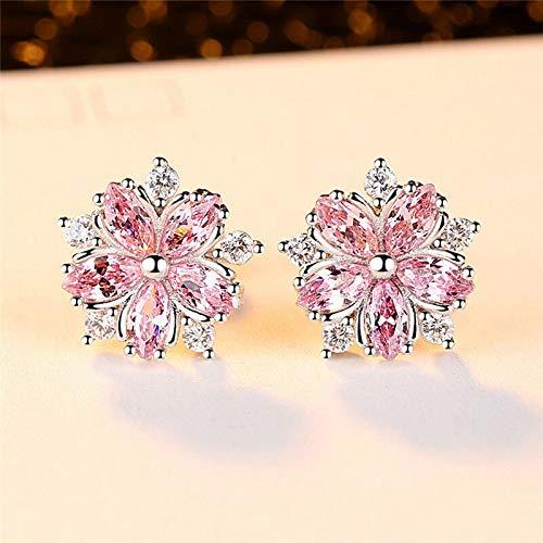 Jewelryjintarawateestore Cute 925 Silver Pink Topaz Cross CZ Sakura Flower Stud Earrings Wedding Jewelry