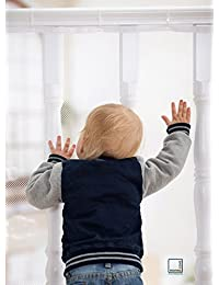 Roving Cove Safe Rail – 5ft L x 3ft H – INDOOR Balcony and Stairway Safety Net – PEARL color – Banister Stair Net – Child Safety; Pet Safety; Toy Safety; Stairs Protector BOBEBE Online Baby Store From New York to Miami and Los Angeles
