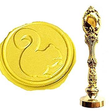 mnyr Vintage bronce Lovely squiral arte con sello de cera sello lujo metal pavo real decorativo