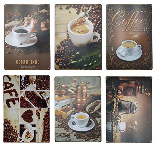 - Quan Coffee Time Vintage Tin Painted Bar,Home Decorated Iron Wall Decorations Metal Signs 6pcs 30cm20cm (7.8711.81inch)