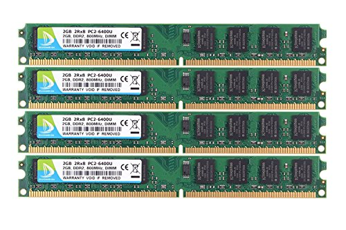 DUOMEIQI RAM 8GB Kit (4 X 2GB) 2RX8 DDR2 800MHz PC2-6300 PC2-6400 DDR2 800 1.8v 240 Pin DIMM Desktop (Speed Ddr2 Ram)