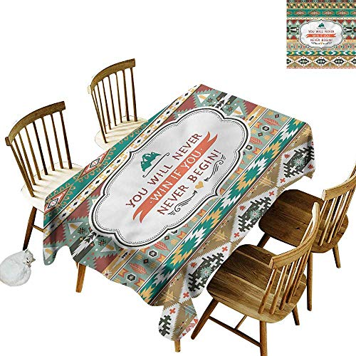 one1love Fashions Rectangular Table Cloth Lifestyle Encouraging Quote Ethnic Table Cover for Kitchen Dinning Tabletop Decoratio 60