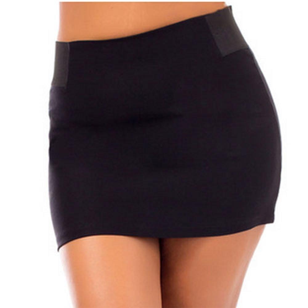 824 - Plus Size Sexy Stretchy Waist Back Zipper Short Mini Skirt Black (3X)