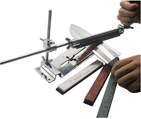 KKmoon Afilador De Cuchillos Profesional, Amoladora Angular de Acero Inoxidable,con 4 Piedra para Afilar