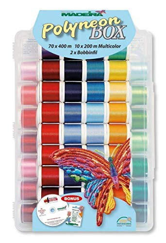 - Madeira Polyneon Machine Embroidery Thread Kit 8085 with 80 40-weight spools of thread, case, 5 needles, 82 embroidery designs, 2 Bobbinfil bobbins