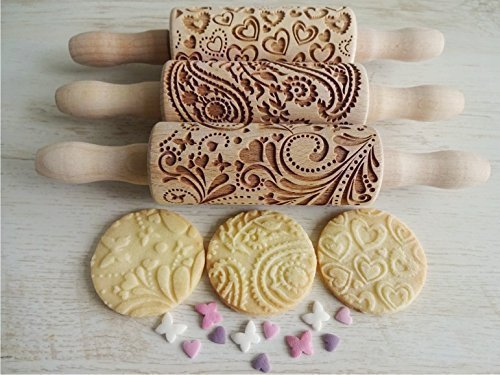LOVELYDAY, 3 KIDS Rolling pin SET . Wooden Laser Cut Mini Rolling Pins for cookies, play dough, salt dough or clay
