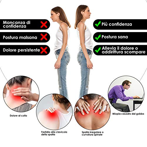 Corrector de Postura Espalda Soporte Transpirable Postural Ajustable Alivia el Dolor de Espalda en el Cuello y los Hombros para Hombre y Mujer