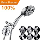 Luxury Filtered Handheld Shower Head Health Care Shower Set 6 Spray Showerhead with 10-Stage Filter of 2 Cartridges, Adjustable Metal Bracket, Extra Long Stretchable Hose, Chrome Finish