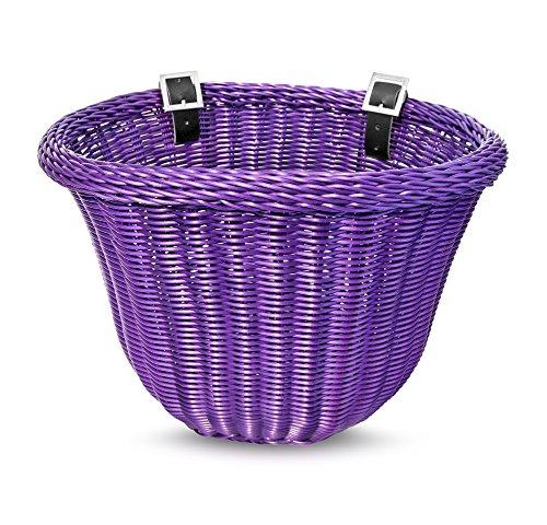Colorbasket 01600 Front Handle Bar Adult Bike Basket, Water Resistant, Leather Straps, - Basket Bike Purple