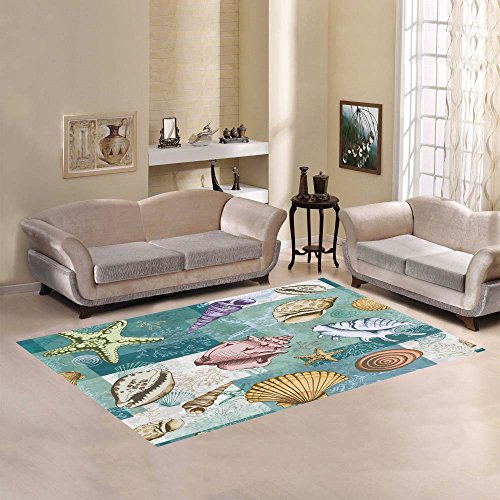 InterestPrint Colorful Seashells Corals and Starfish Area Rug 7 x 5 Feet, Tropical Beach Ocean Sea Shell Modern Carpet Floor Rugs Mat for Children Kids Home Living Dining Room Decoration