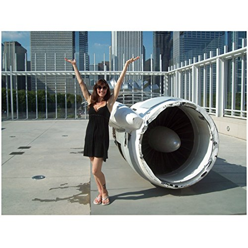 (Stacy Haydt 8x10 Photo Seaquest DSV Kindred: The Embraced Short Black Dress Next to Airplane Engine kn)