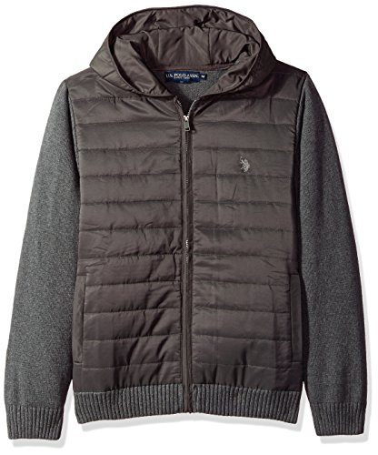 Quilted Hooded Zip Sweatshirt (U.S. Polo Assn. Men's Quilted Full Zip Hoodie Sweater, Iron Heather, Large)