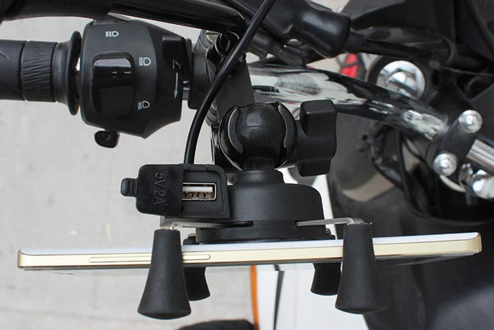 Rotazione USB // 360 /° // 3,5-6,5 Pollici//per Motociclo Ricaricabile AIJICHE Portacellulare Universale per Moto in Lega di Alluminio