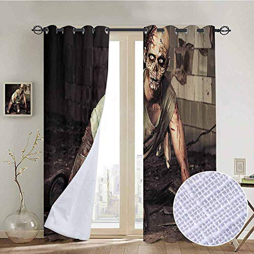 NUOMANAN Bedroom Curtain Zombie,Halloween Scary Dead Man in The Old Building with Bloody Head Nightmare Theme,Grey Mint Peach,Insulating Room Darkening Blackout Drapes 54