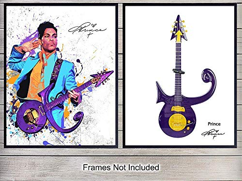 Prince and Guitar Wall Art Print Posters - Inexpensive Gift for Musicians and 80