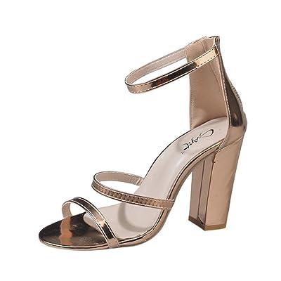 ????✿☀Talons Hauts Femme????✿☀Lolittas Argent Mode Zip Mesdames Cheville Talons Hauts Occasionnels Ouvert Toe Party Singel Chaussures
